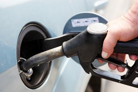 refuel: Closeup refuel gasoline in gas-station