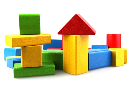 tower block: Wooden building blocks Stock Photo