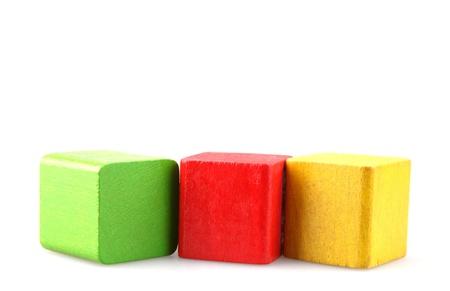 wood blocks: Wooden building blocks isolated on white background