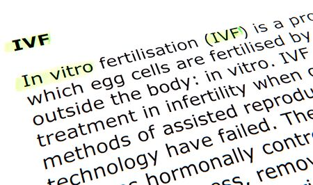 in vitro: In vitro fertilisation (IVF)
