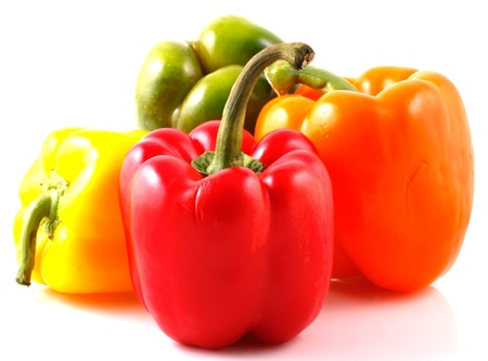 weight reduction plan: Peppers on white background Stock Photo
