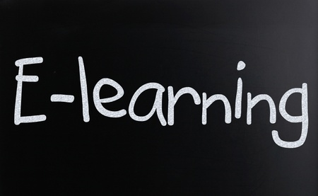 virtual classroom: The word E-learning handwritten with white chalk on a blackboard