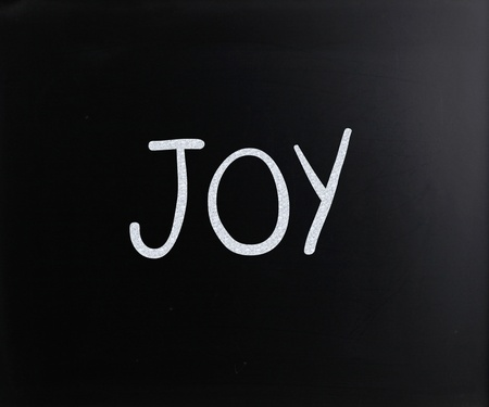 The word 'Joy' handwritten with white chalk on a blackboard photo