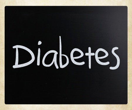 The word Diabetes handwritten with white chalk on a blackboard