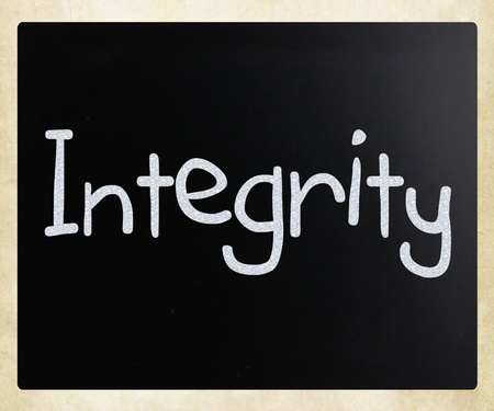 The word Integrity handwritten with white chalk on a blackboard photo