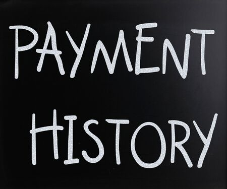 credit report: Payment history handwritten with white chalk on a blackboard