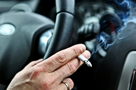 Ban smoking in all vehicles Stock Photo