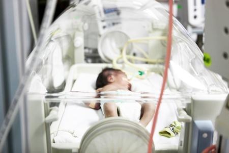 incubator: Newborn baby inside incubator