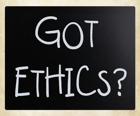 Got Ethics? handwritten with white chalk on a blackboard photo