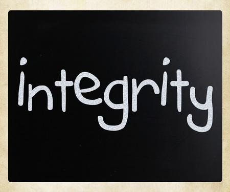 Integrity handwritten with white chalk on a blackboard photo