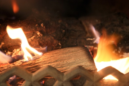 Fire in a fireplace Stock Photo - 12298372