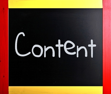 backlink: The word Content handwritten with white chalk on a blackboard