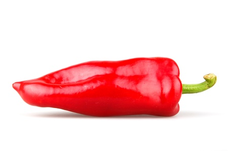weight reduction plan: Red chilli peppers on white background  Stock Photo