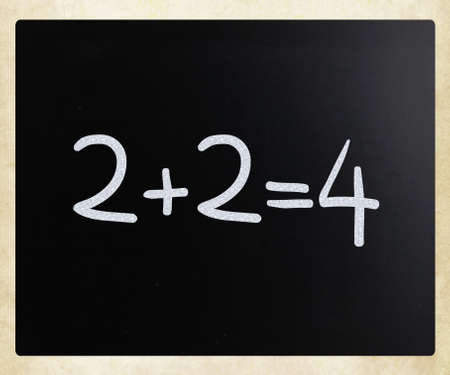 2 2=4  handwritten with white chalk on a blackboard photo