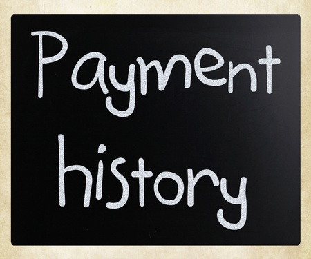Payment history handwritten with white chalk on a blackboard photo