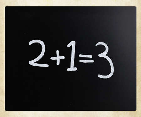 2+1=3 handwritten with white chalk on a blackboard photo