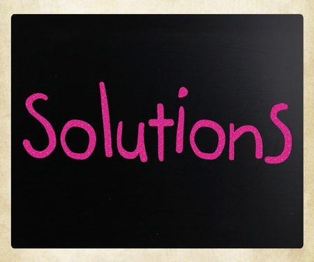 Solutions written with chalk Stock Photo - 12828121