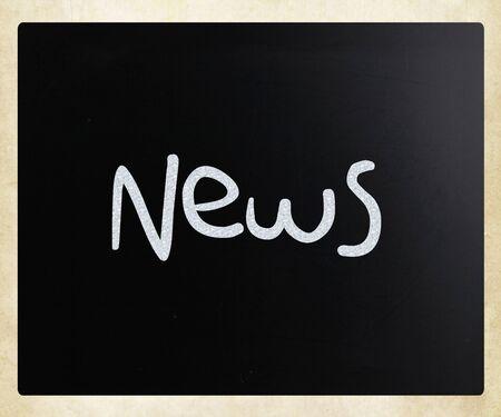 lately: News handwritten with white chalk on a blackboard