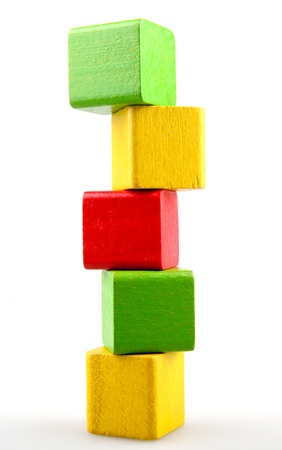 unstable: Wooden building blocks Stock Photo