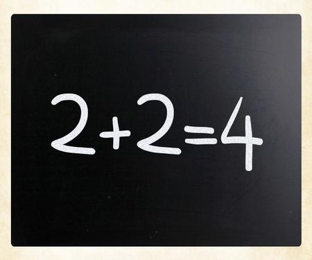 2+2=4 handwritten with white chalk on a blackboard photo