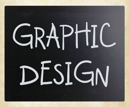 Graphic design handwritten with white chalk on a blackboard photo