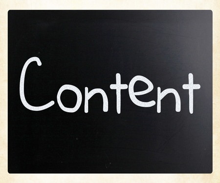 The word Content handwritten with white chalk on a blackboard