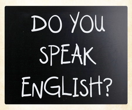 Do you speak english handwritten with white chalk on a blackboard photo