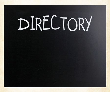 Directory handwritten with white chalk on a blackboard photo