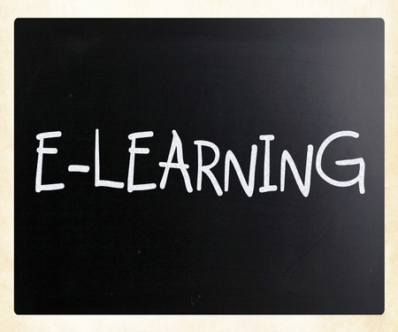 E-learning handwritten with white chalk on a blackboard photo