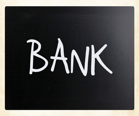 The word 'Bank' handwritten with white chalk on a blackboard photo