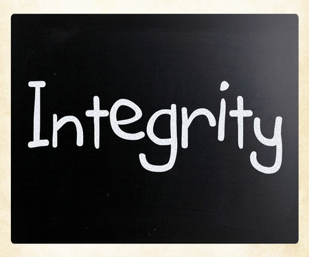 The word 'Integrity' handwritten with white chalk on a blackboard photo