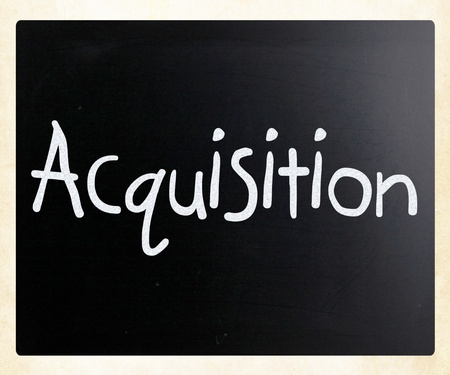 The word Acquisition handwritten with white chalk on a blackboard photo