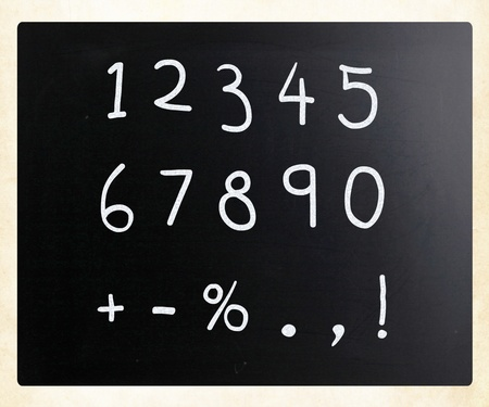 Numbers handwritten with white chalk on a blackboard photo
