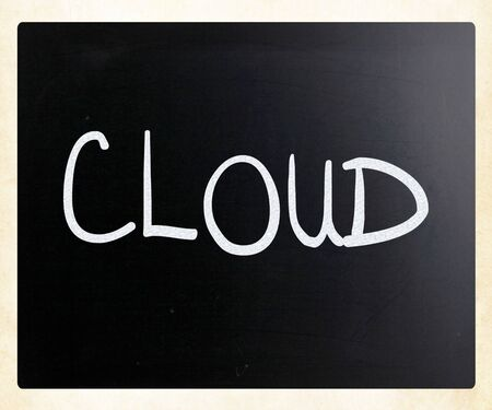 Cloud handwritten with white chalk on a blackboard photo