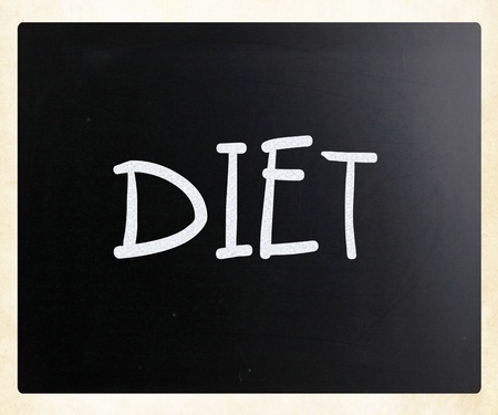 Diet handwritten with white chalk on a blackboard photo