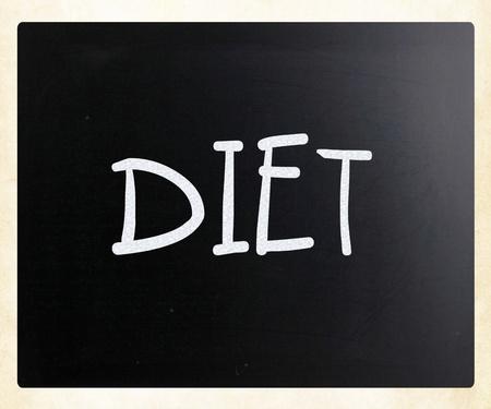 Diet handwritten with white chalk on a blackboard photo
