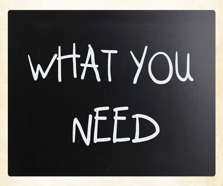 'What you need' handwritten with white chalk on a blackboard photo