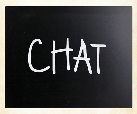 The word 'Chat' handwritten with white chalk on a blackboard photo