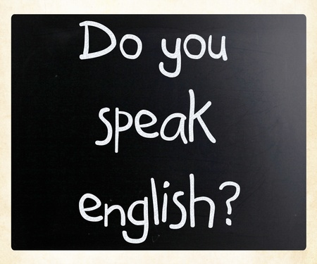 Do you speak english handwritten with white chalk on a blackboard photo