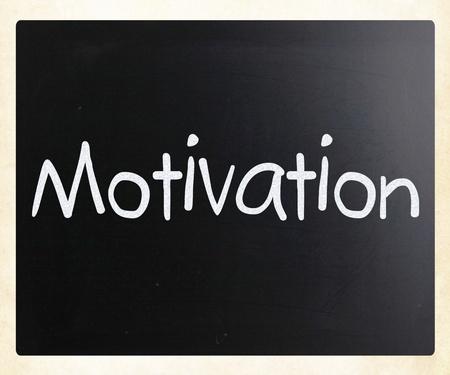instigation: Motivation handwritten with white chalk on a blackboard