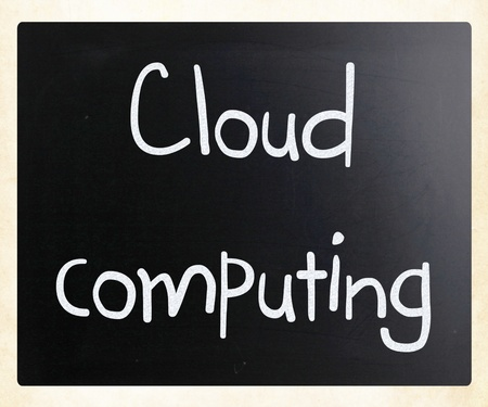 'Cloud computing' handwritten with white chalk on a blackboard photo