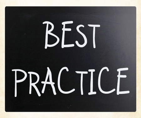 Best practice handwritten with white chalk on a blackboard photo