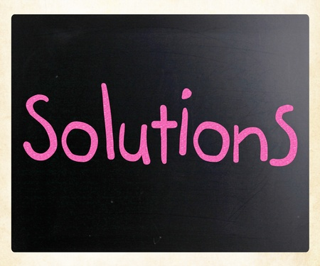 Solutions written with chalk Stock Photo - 13124628