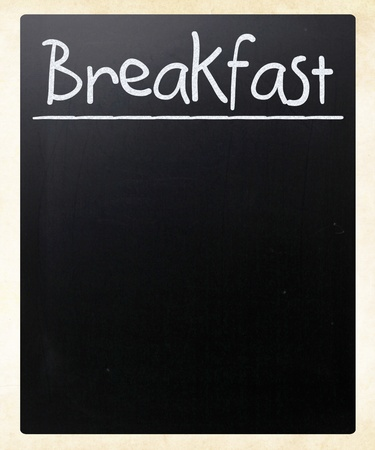 'Breakfast' handwritten with white chalk on a blackboard photo