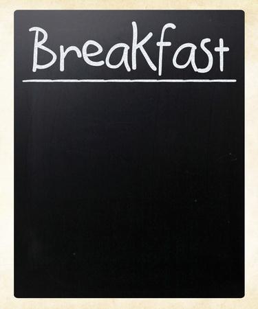 Breakfast handwritten with white chalk on a blackboard photo