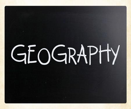 Geography handwritten with white chalk on a blackboard photo