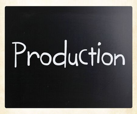 Production handwritten with white chalk on a blackboard photo