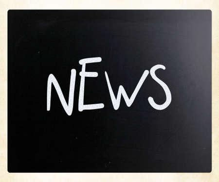 News handwritten with white chalk on a blackboard