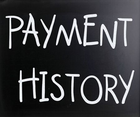 'Payment history' handwritten with white chalk on a blackboard photo