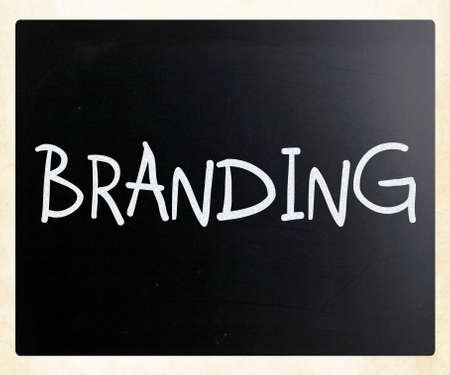 'Branding' handwritten with white chalk on a blackboard photo